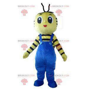 Žlutý a černý včelí maskot s modrým overalem - Redbrokoly.com