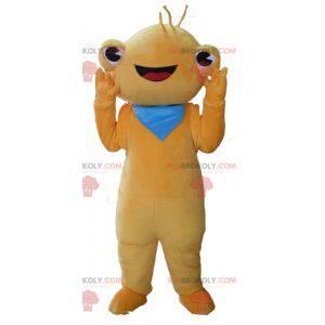 Bardzo uśmiechnięta maskotka żaby pomarańczowy stworzenie -