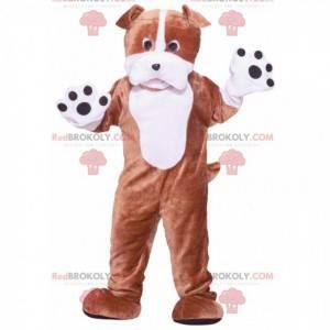 Velký hnědý a bílý pes maskot - Redbrokoly.com