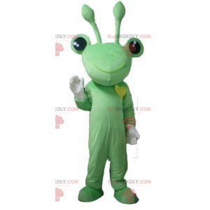 Velmi zábavný maskot zelená žába s anténami - Redbrokoly.com