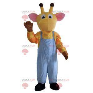 Giraffe mascot yellow orange and pink overalls - Redbrokoly.com