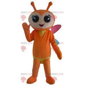 Mascote borboleta laranja e amarelo com asas coloridas -
