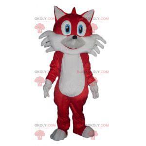 Czerwony i biały lis maskotka z niebieskimi oczami -