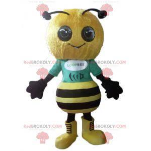 Bardzo udana i uśmiechnięta żółto-czarna pszczoła maskotka -