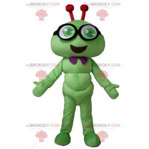 Green caterpillar mascot insect smiling with glasses -