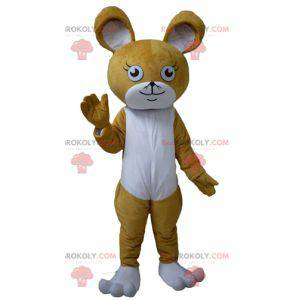 Hnědý a bílý králík myší maskot - Redbrokoly.com