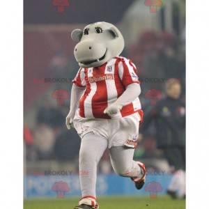 Grijze nijlpaardmascotte in sportkleding - Redbrokoly.com