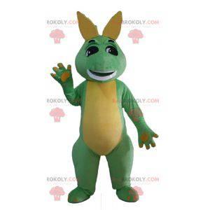 Zelený a žlutý drak dinosaurus maskot - Redbrokoly.com