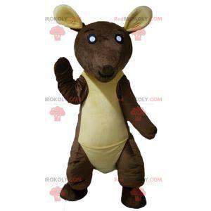 Obří hnědý a žlutý klokan maskot - Redbrokoly.com