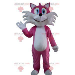 Roztomilý a koketní maskot růžové a bílé lišky - Redbrokoly.com