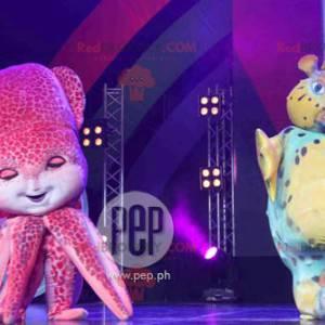 2 maskoti ryb, jeden modrý a žlutý a růžový chobotnice -