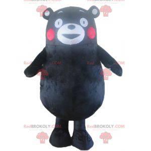 Velký černý medvěd maskot s červenými tvářemi - Redbrokoly.com