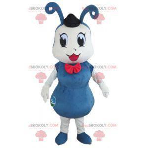 Niebiesko-biała maskotka mrówka owada - Redbrokoly.com