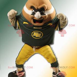 Maskottchen großer orange Mann in der Form eines Rugbyballs -