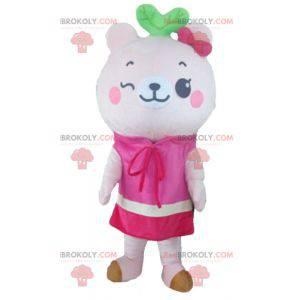Růžový medvídek maskot s šaty - Redbrokoly.com