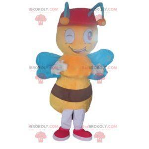 Žlutý a hnědý včelí maskot s modrými křídly - Redbrokoly.com