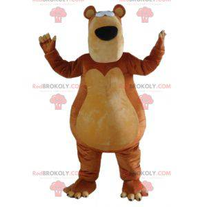Very plump and funny brown and beige bear mascot -