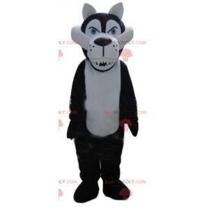 Biało-czarna maskotka wilk wyglądający groźnie - Redbrokoly.com