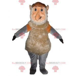 Růžový a šedohnědý maskot opice gnome - Redbrokoly.com