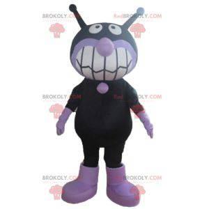 Černá a fialová mimozemská muška maskot - Redbrokoly.com