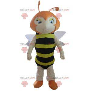 Red bee mascot striped black and yellow - Redbrokoly.com