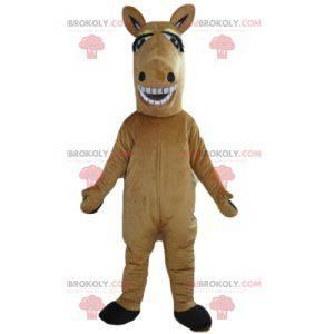 Obří a usměvavý hnědý a bílý kůň maskot - Redbrokoly.com