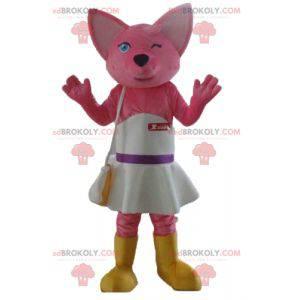 Maskot růžová liška kočka s bílými šaty - Redbrokoly.com