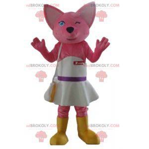 Pink fox cat mascot with a white dress - Redbrokoly.com