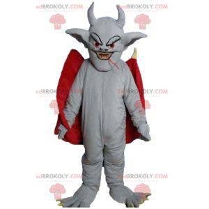 Gray bat devil mascot with a red cape - Redbrokoly.com