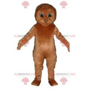 Mascote ouriço marrom com espadas nas costas - Redbrokoly.com