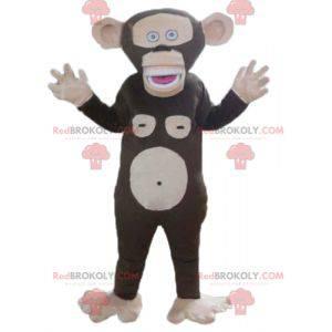 Veldig morsom brun og rosa ape maskot - Redbrokoly.com