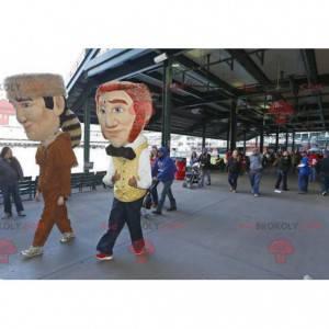 2 maskoti mužů, indiánů a zrzavý barman - Redbrokoly.com