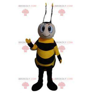 Smiling yellow and black bee mascot - Redbrokoly.com