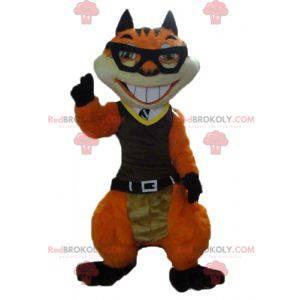 Oransje og hvit reve kattemaskot med briller - Redbrokoly.com