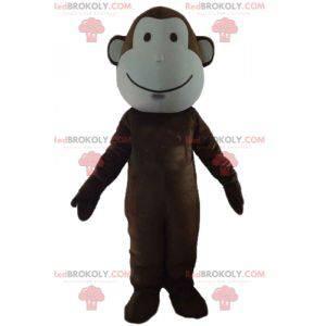 Sehr süßes braunes und weißes Affenmaskottchen - Redbrokoly.com