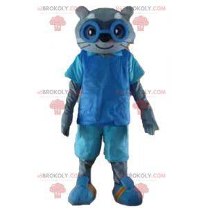 Šedá kočka maskot v modrém oblečení s brýlemi - Redbrokoly.com