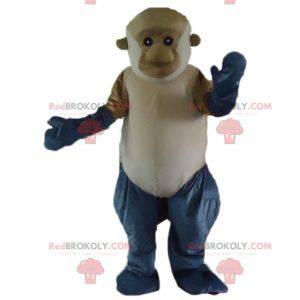 Obří šedé a bílé hnědé opice maskot - Redbrokoly.com