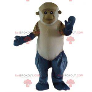 Riesiges graues und weißbraunes Affenmaskottchen -