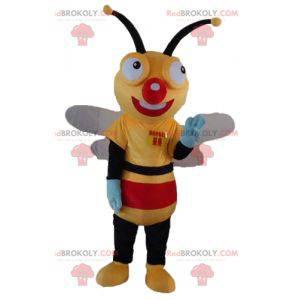 Včelí maskot žlutá černá a červená velmi usmívající se -