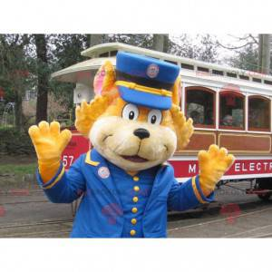 Maskot oranžová kočka oblečený jako správce vlaku -