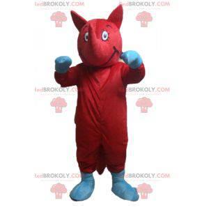 Červený a modrý maskot atypického zvířete - Redbrokoly.com