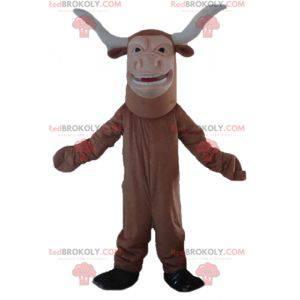 Braunes und weißes Büffelbullenmaskottchen - Redbrokoly.com