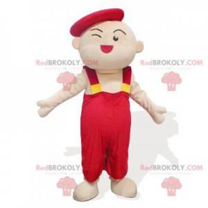 Mascotte man van een kindkunstenaar in rode overall -