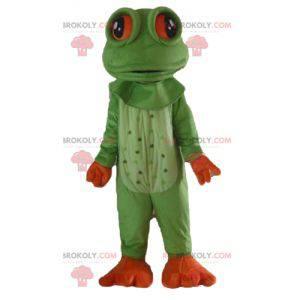 Sehr realistisches grünes und orangefarbenes Froschmaskottchen