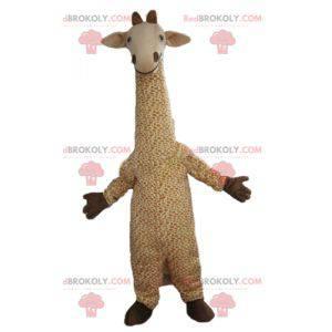 Grande mascotte giraffa beige e bianca macchiata -