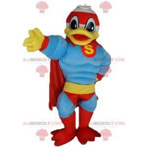 Mascote famoso do pato Donald vestido de super-herói -