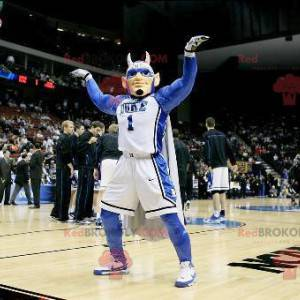 Sportsman superhero man mascot with horns - Redbrokoly.com