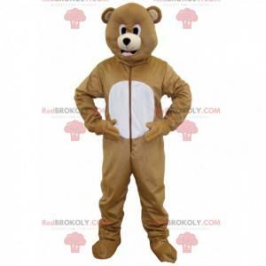 Hnědý a bílý medvěd maskot - Redbrokoly.com