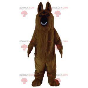 Brown dog mascot of Saint Bernard all hairy and realistic -