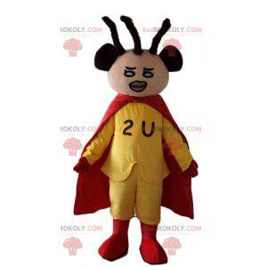 Africký americký superhrdina maskot oblečený ve žluté a červené
